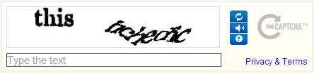 reCAPTCHA mit Buchstaben