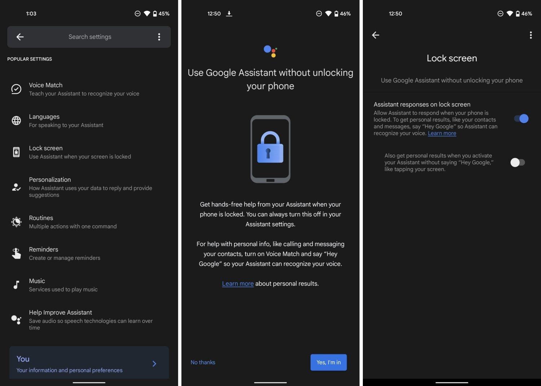 Android Google Assistant Lockscreen Settings