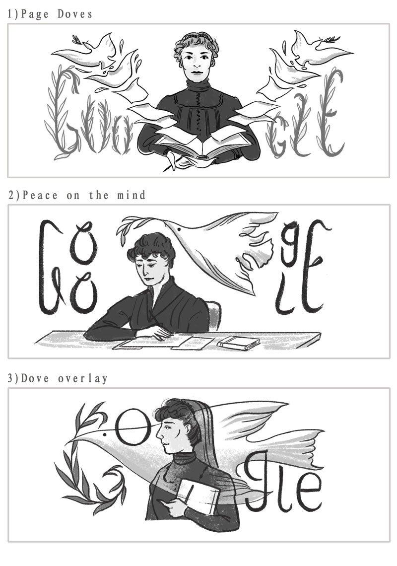 Bertha von Suttner Google Doodle Entwurf