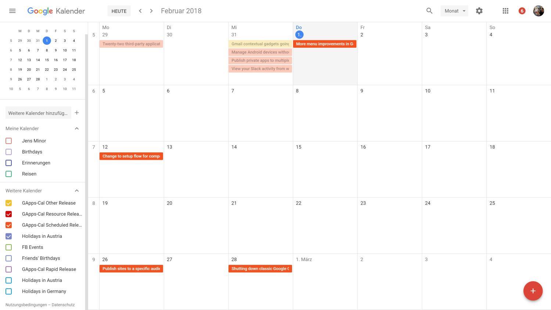 Kleine Verbesserung: Der Google Calendar zeigt jetzt auch ...