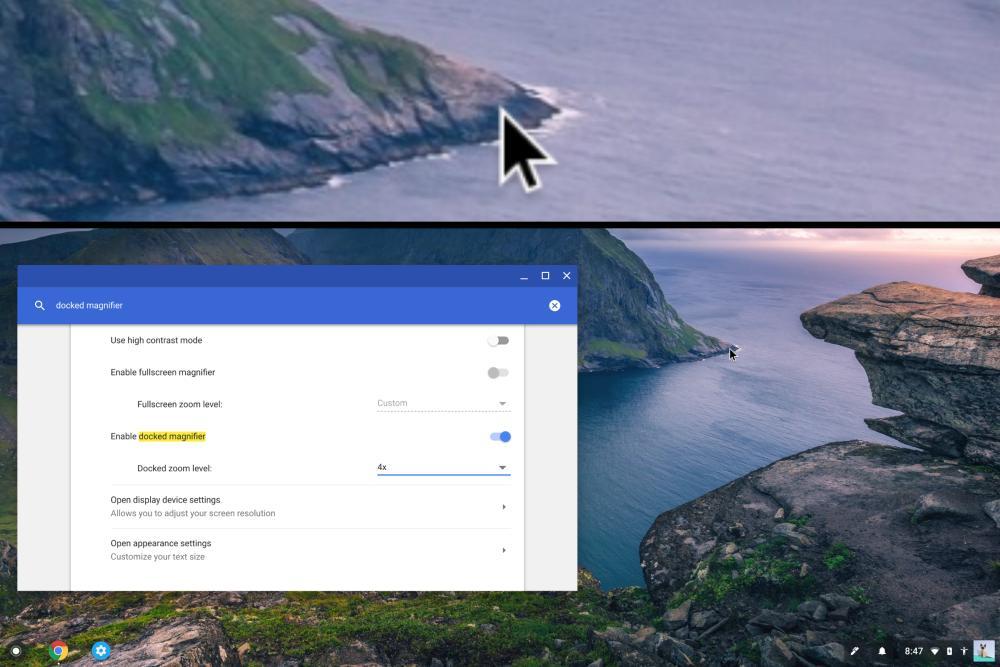 Google Chrome OS Bedienungshile Lupe Vergrößerungsglas
