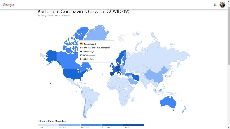Google Coronavirus Karte