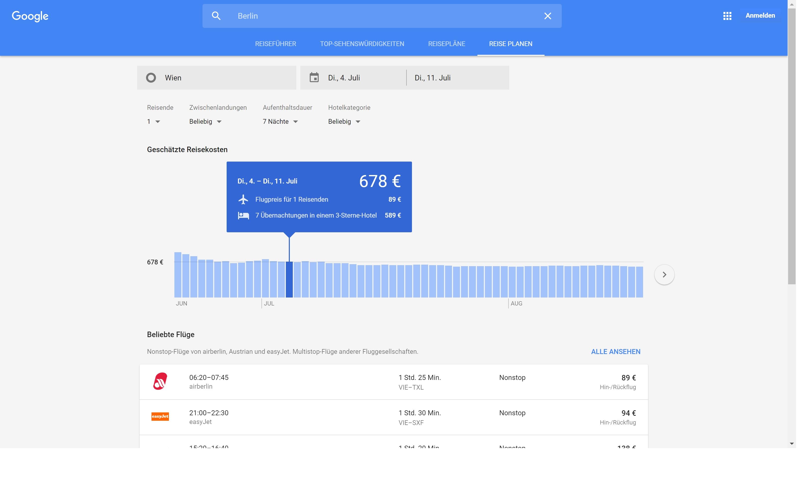 Google Destinations Planung