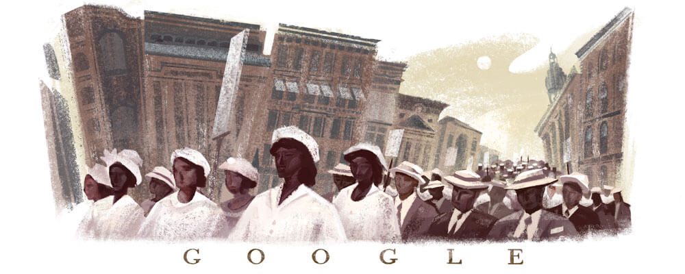 Google Doodle 100th Anniversary of the Silent Parade