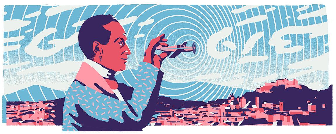 Google-Doodle 214. Geburtstag von Christian Doppler