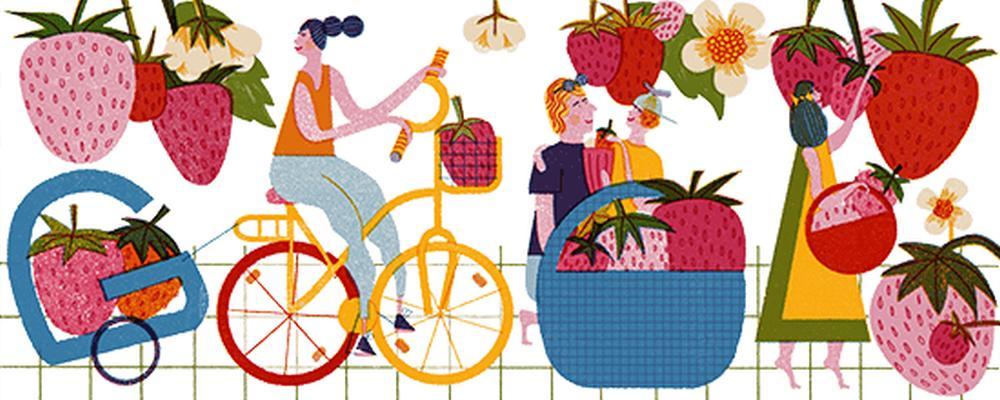 Google-Doodle Endlich Erdbeersaison