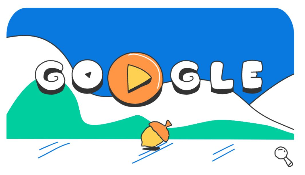 Google-Doodle Olympische Winterspiele 2018 Snow Games Tag 14 Doodle