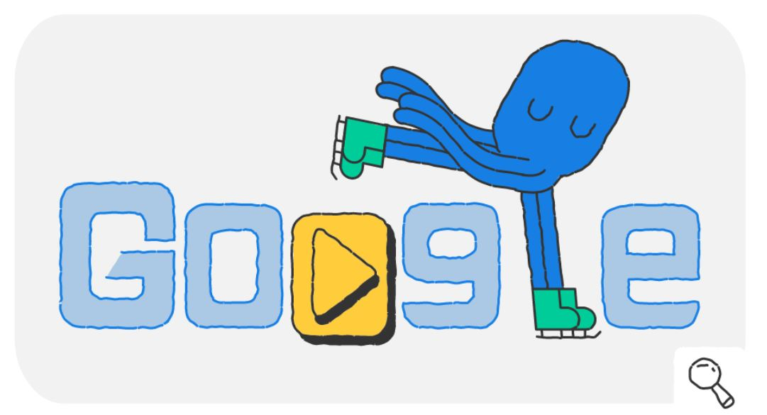 Google-Doodle Olympische Winterspiele 2018 Snow Games Tag 16 Doodle