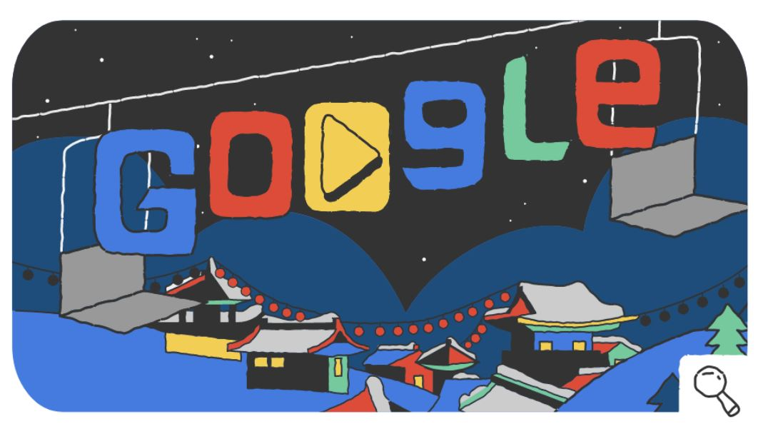 Google-Doodle Olympische Winterspiele 2018 Snow Games Tag 8