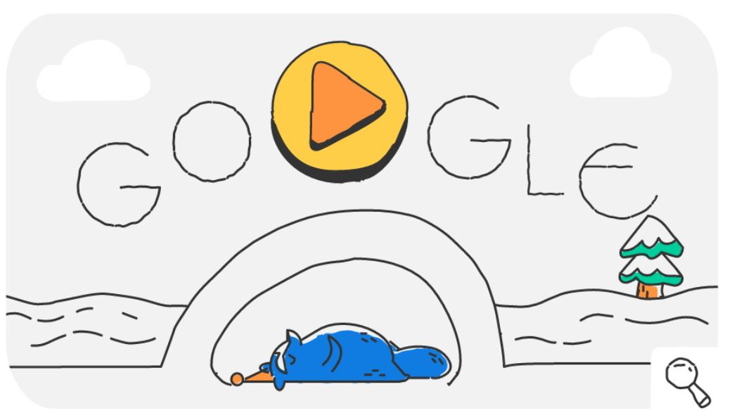 Google-Doodle Olympische Winterspiele Snow Games Tag 5 Doodle