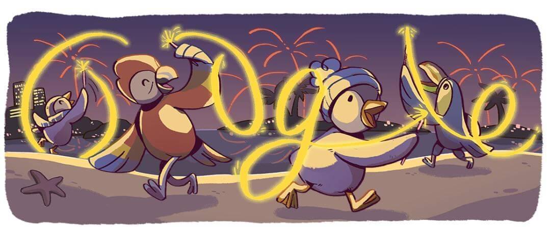 Google-Doodle Silvester 2017 Serie 4