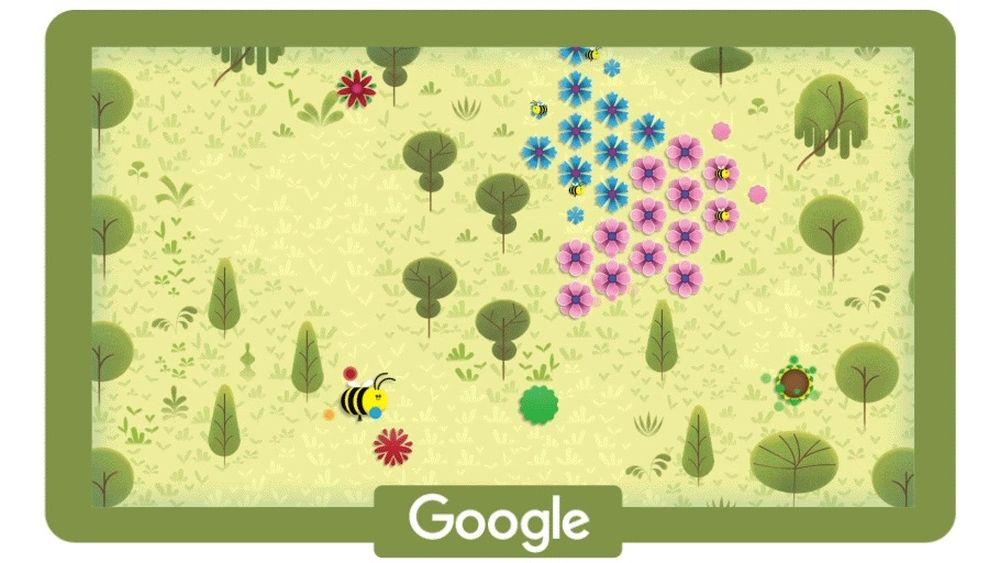Google Doodle Tag der Erde Bienenspiel