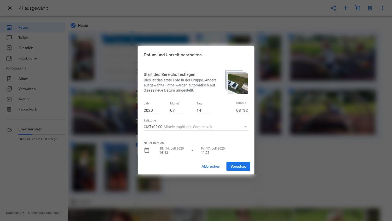 Google Fotos Zeitstempel relativ verschieben