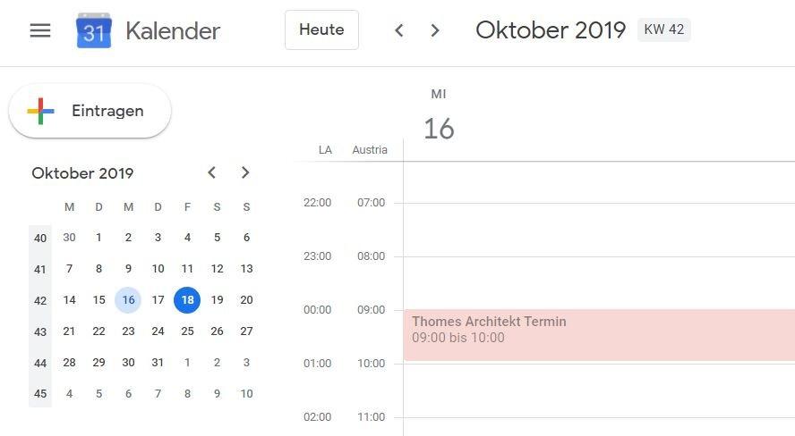 Google Kalender Zeitzone