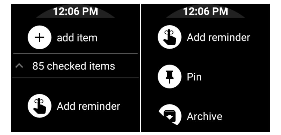 Google Keep Android Wear Optionen