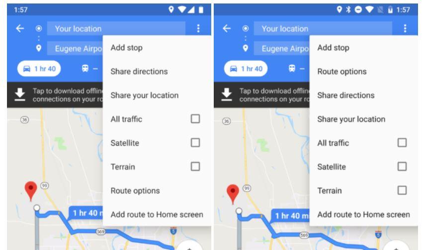 Google Maps Routen Optionen