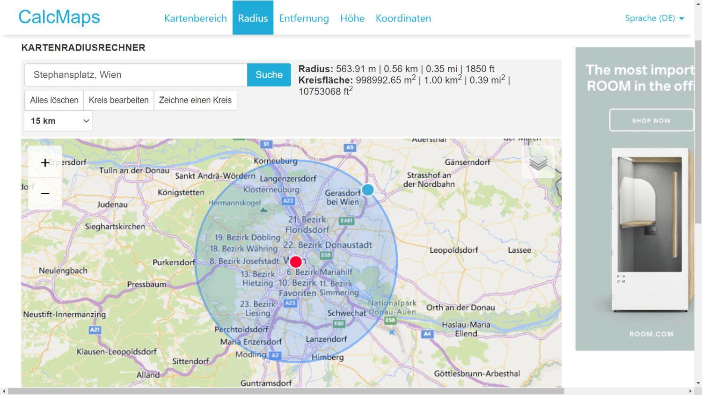 Google Maps radius