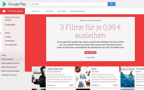 Google Play Gutscheine