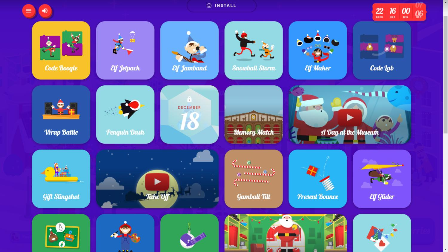 Google Santa Tracker Games