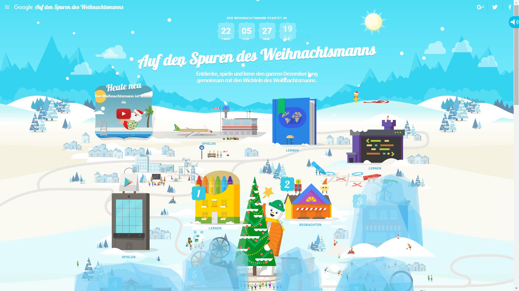Weihnachtskalender Google.Santa Tracker 2015 Google Großer Adventskalender Mit Vielen