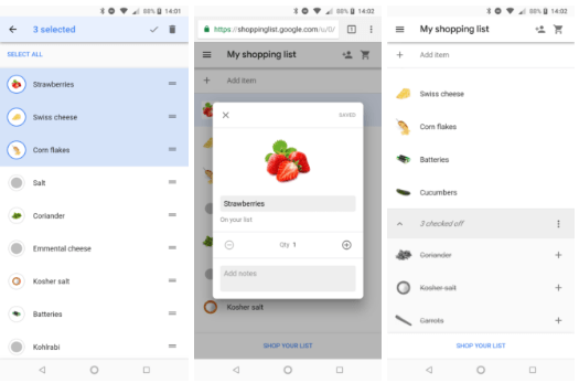 Google Shopping List Neues Design