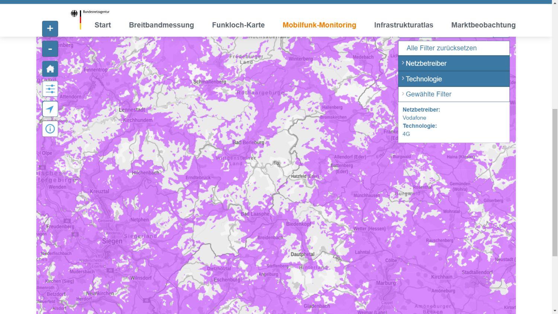 Mobilfunk Abdeckung Deutschland Filter
