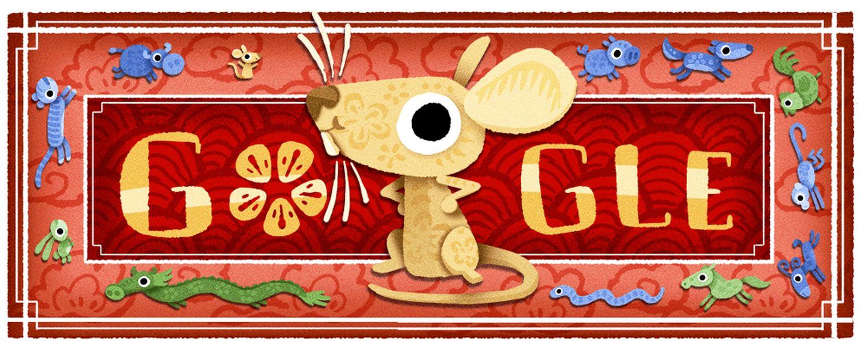 Mond-Neujahr Google-Doodle 2020 Metall-Ratte