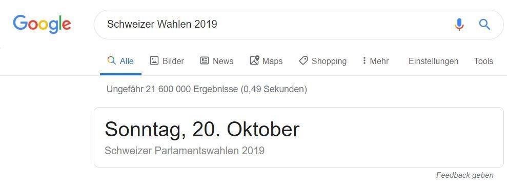 Schweizer Wahl 2019 google websuche