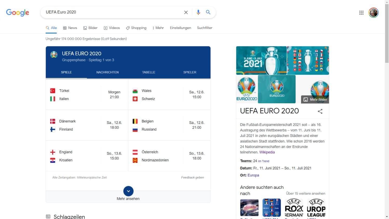 UEFA Euro 2020 Google