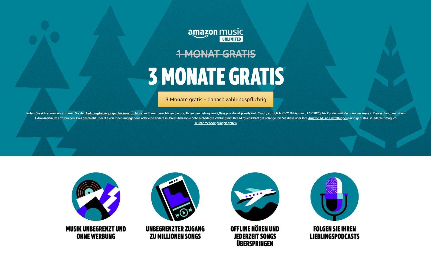 amazon music 3 monate gratis