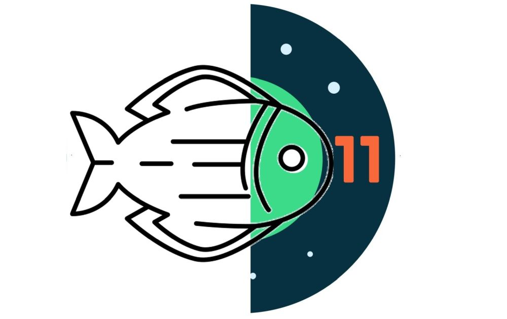 android 11 logo fisch