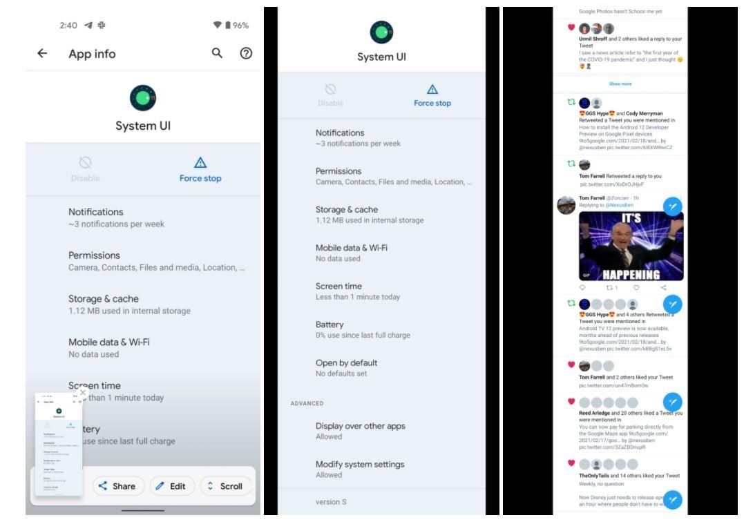 android 11 scroll screenshots
