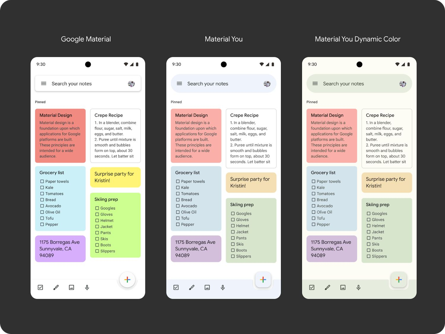 android 12 mateial you google keep