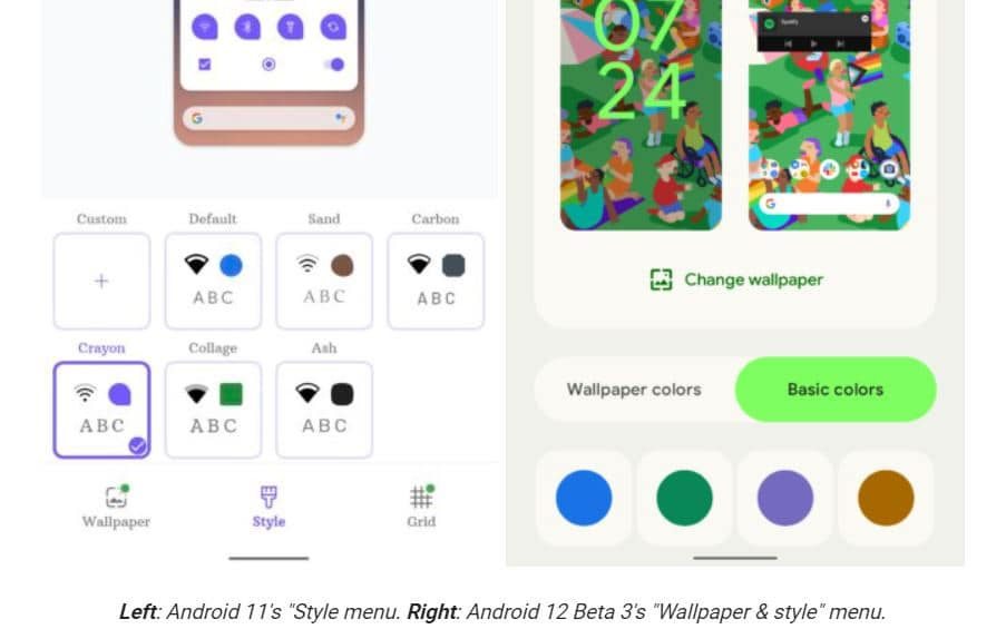 android 12 style options