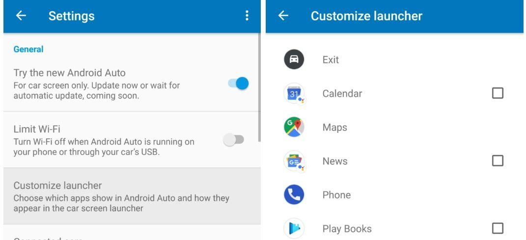 android auto apps ausblenden