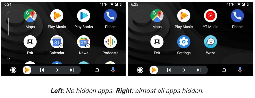 android auto apps ausgeblendet