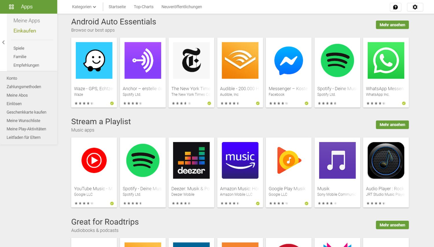 android auto apps play store