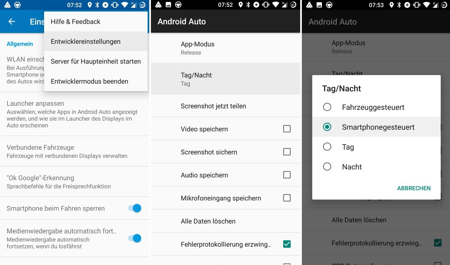 android auto dark mode settings