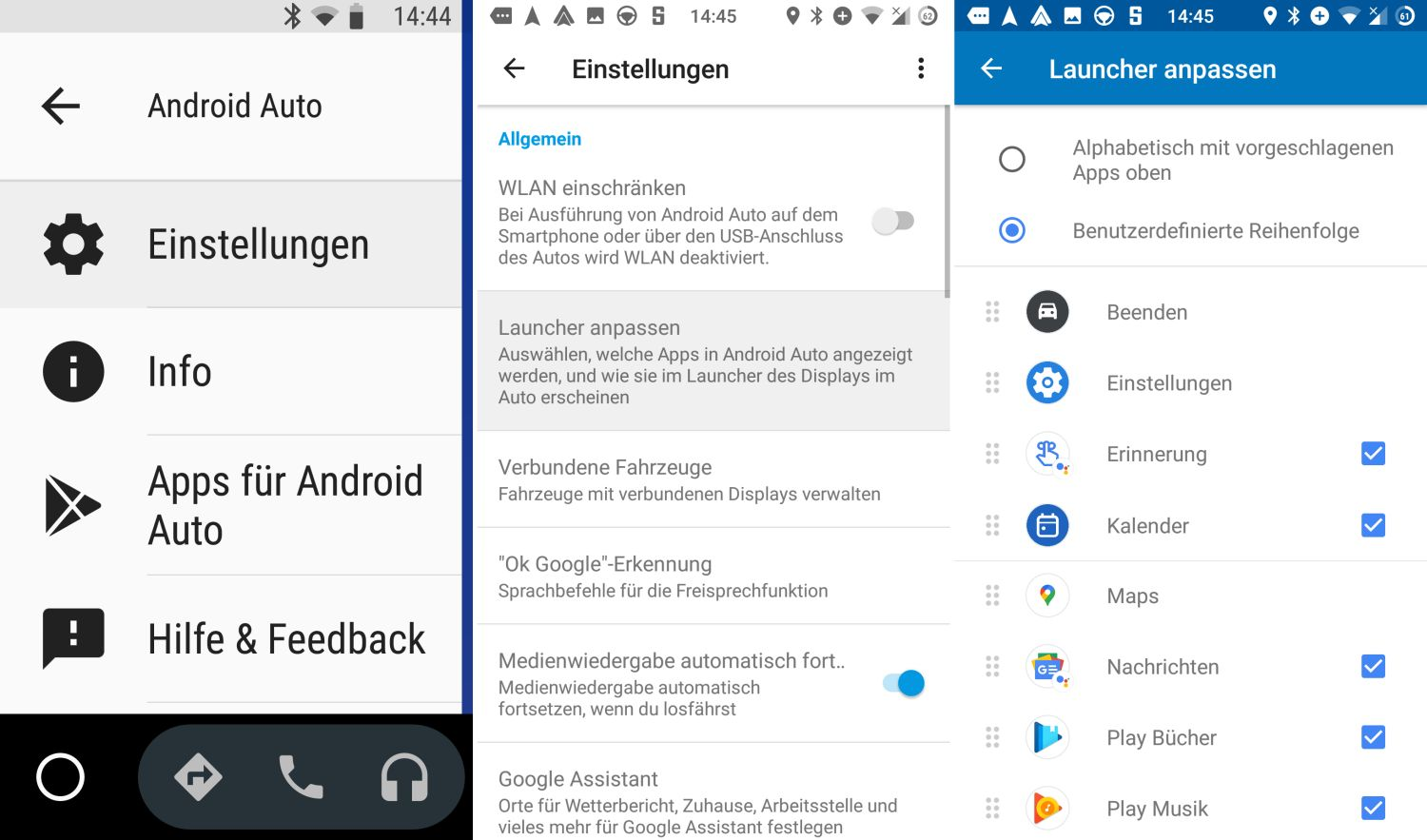 android auto einstellungen launcher homescreen