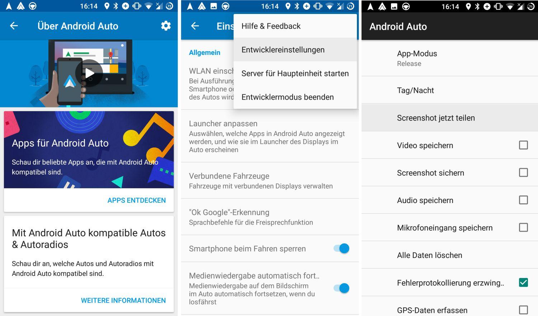 android auto entwicklereinstellungen screenshots