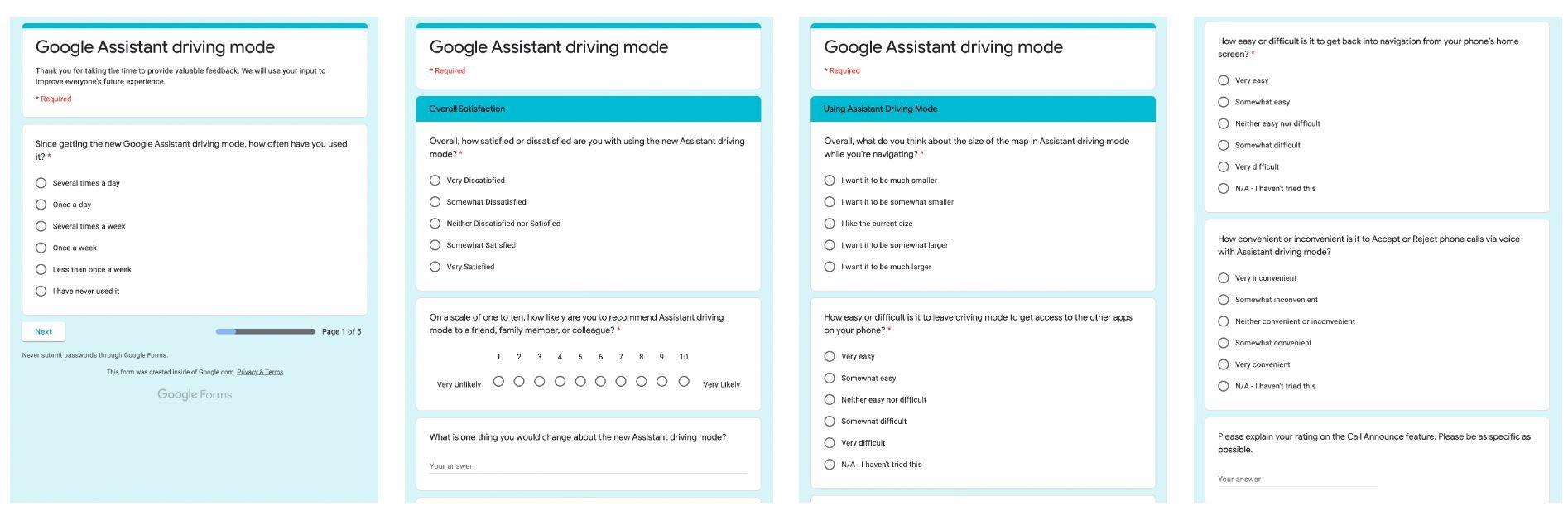 android auto google assistant driving mode umfrage screenshots
