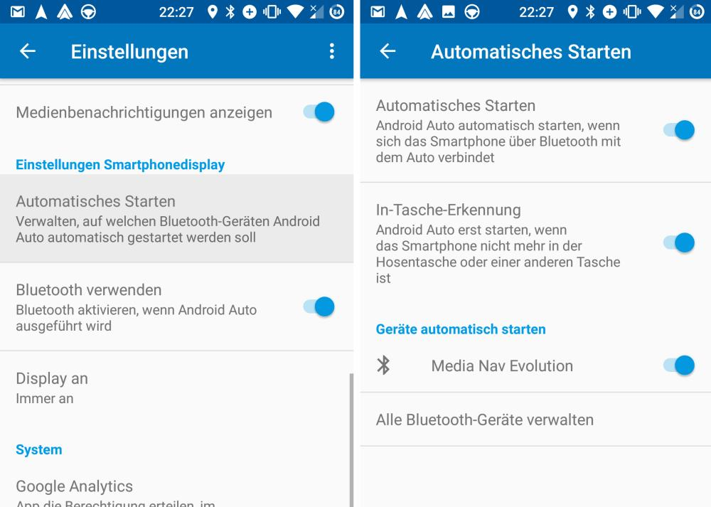 android auto settings
