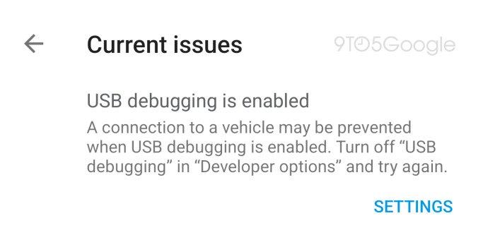 android auto usb desbugging