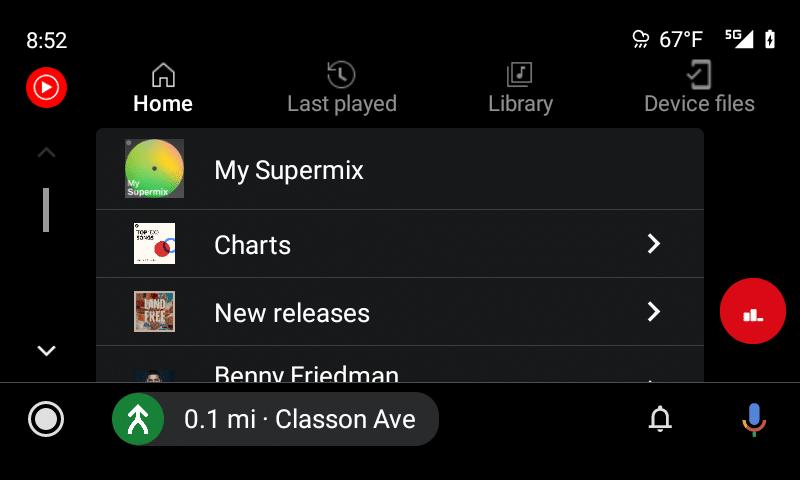 android auto youtube music startseite new