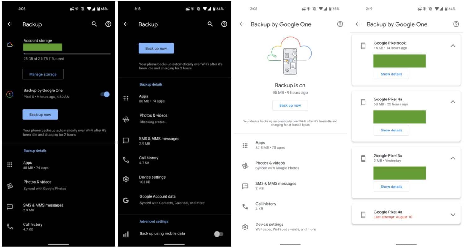 android backup by google one