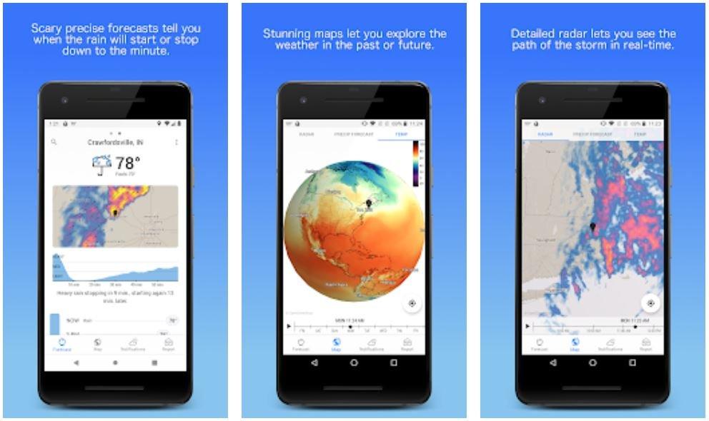 android dark sky app screenshots