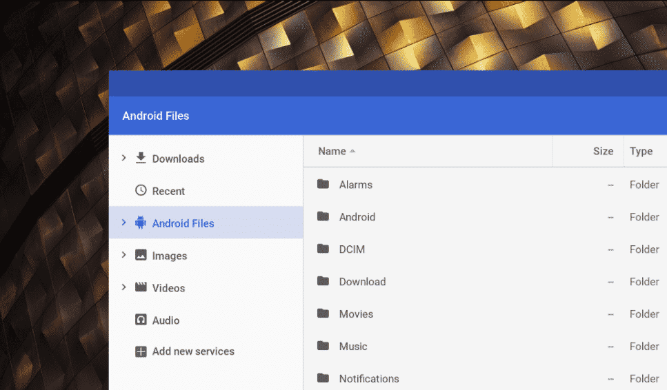 android files on chrome os