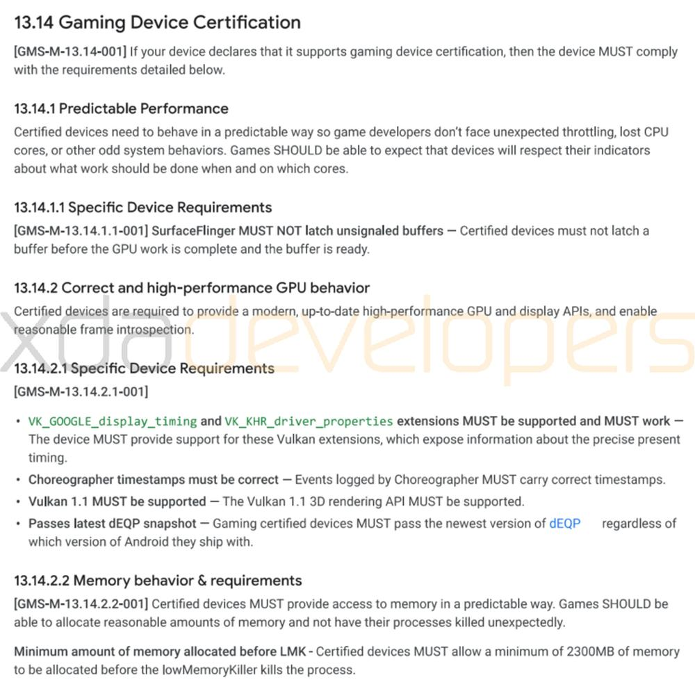 android gaming certificate