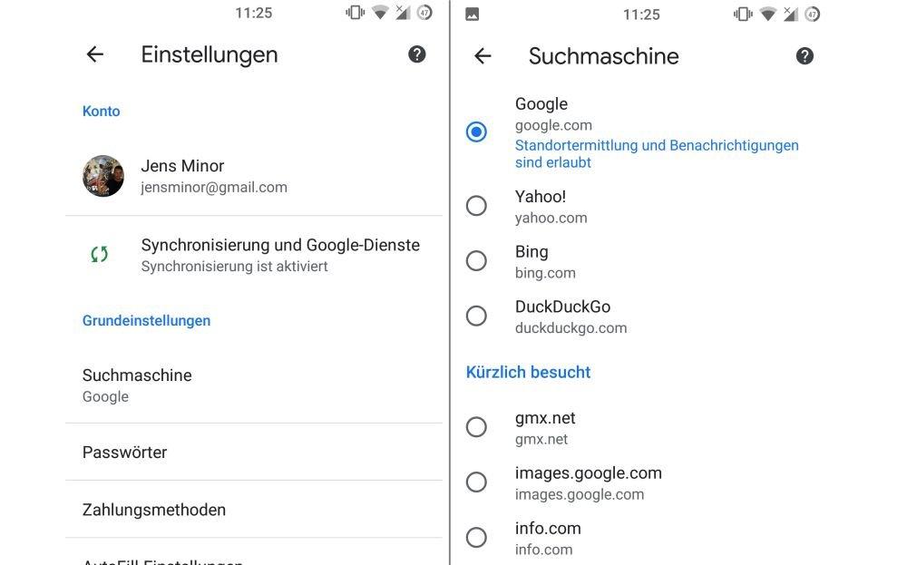 android google chrome suchmaschine umstellen