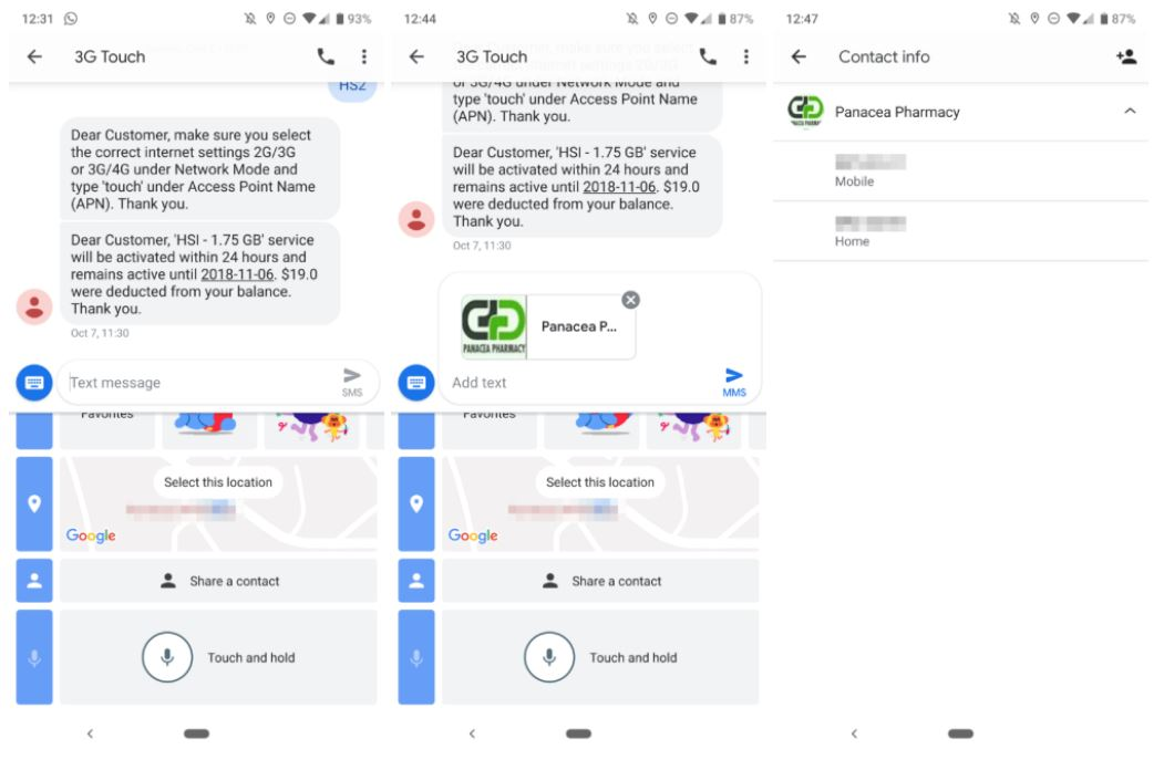 android messages share contacts